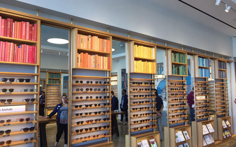 the shelves at Warby parker